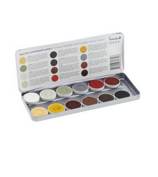 Superstar - Palette of 12 Aquacolors for face and body Fearsome Faces by Matteo Arfanotti